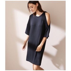 Ann Taylor Lou & Grey tie shoulder black dress L